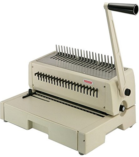 Tamerica 210PB Manual Comb Binding Machine, 20 Sheets Max. Punch Capacity, 425 Sheets Max. Bind Capacity, Adjustable Punch Depth Margin Control, Max. Punch Length 12' with Open Throat