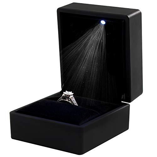 TRIXES Caja para Anillo – Caja para Joyas Cuadrada- para Anillo de Compromiso Boda - Elegante Vitrina con luz LED - Negra con Interior de Terciopelo - 6.5 x 6 x 5cm (L x A x H)