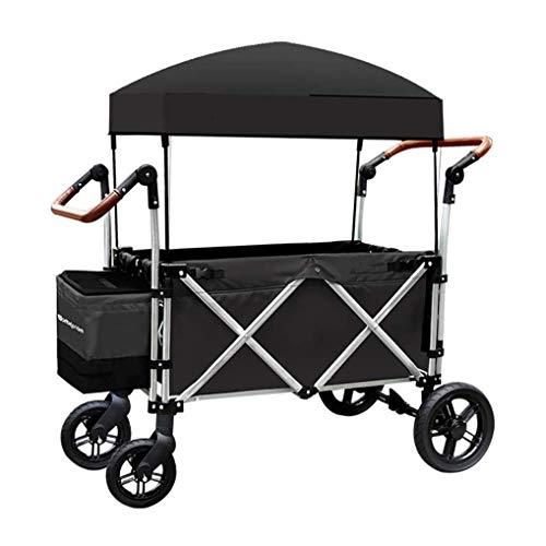 Trolley,Multifunction Folding Garden Trolley Cart Portable Heavy Duty Wagon with Canopy Multi-Function Shopping Cart for Outdoor Camping Beach Hand Pull cart with 4 Wheels, Load: 100kg (Color : A)