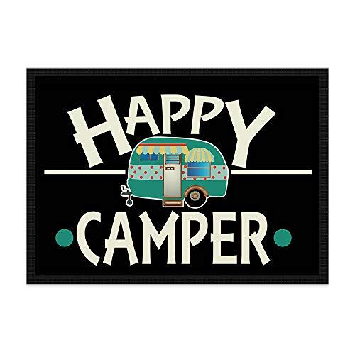 Print Royal Camping Fußmatte mit lustigem Spruch - Happy Camper - Geschenkidee/Camping Zubehör/Campingmatte/Vorzeltteppich - 75 x 50 cm