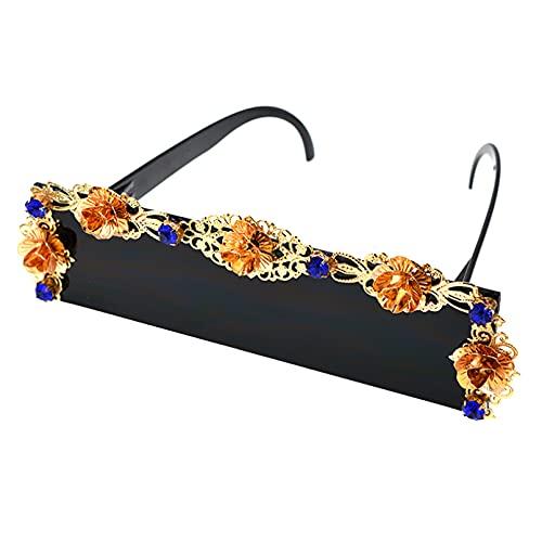 CJJCJJ Flor de Metal Gafas de Sol Redondas Mujer Fiesta/Verano Playa al Aire Libre Decoración Casual Gafas Regalo