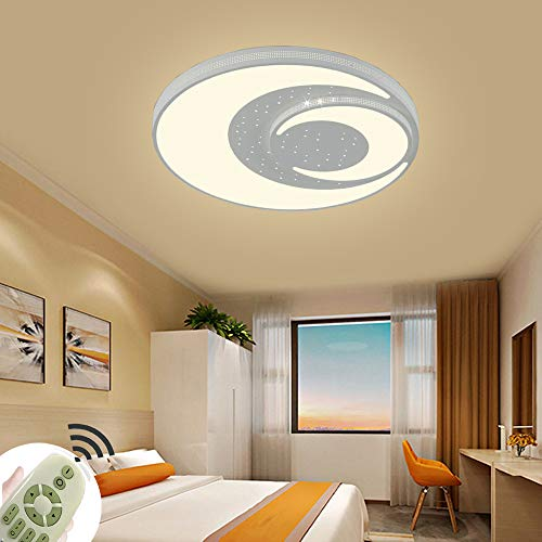 Deckenleuchte LED Kreative Stern und Mond 48W Runde Deckenlampe Dimmbar Mit Fernbedienung für Kinder im Zimmer Babyzimmer Schlafzimmer Wohnzimmer (Ø400x60mm Weiß Farbe)