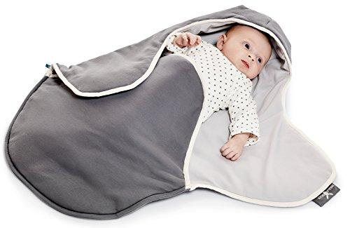 Wallaboo Einschlagdecke Coco, Universal für Babyschale, Autositz, ZB. für Maxi-Cosi, Römer, für Kinderwagen, Buggy oder Babybett, 100% Baumwolle, 90 x 70 cm, Farbe: grau - Silber