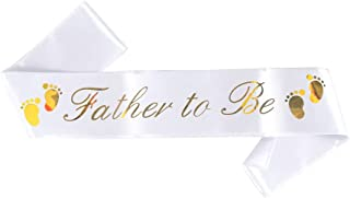 Father to Be Sash - Classy Baby Shower Sash For Dad To Be, (White w/ Gold Lettering) Baby Shower Party Decorations, Gifts,...