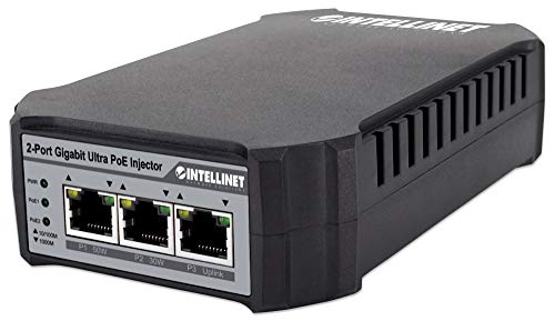 Intellinet 561488 2-Port Gigabit Ultra PoE-injector 1 x 50 watt-poort en 1 x 30 watt-poort, switch-functionaliteit, IEEE 802.3at/af-conform, kunststof behuizing