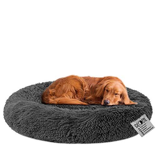 Decdeal Haustierbett für Katzen und Hunde Rundes Plüsch Hundebett Katzenbett in Doughnut-Form Farbe und Größe Optional (Durchmesser 120cm, dunkelgrau)