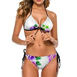 Bikini traje de baño para mujer floral con hojas traje de baño de dos piezas señora halter fondo vacaciones sin espalda ropa de baño, Blanco-estilo1, L