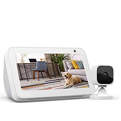 Echo Show 5 Sandstone with Blink Mini Indoor Smart Security Camera, 1080 HD with Motion Detection by