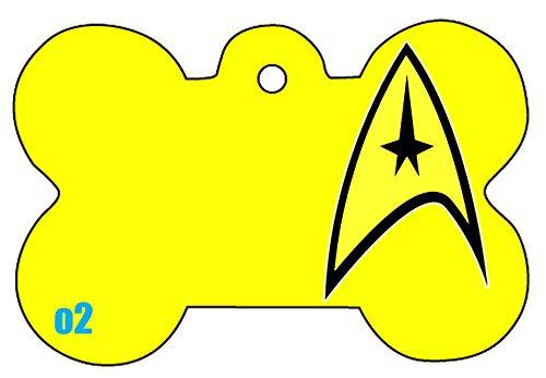 c1 Star Trek Badge Star Fleet Art Logo Dog Pet Cat ID Tag Bone Shape Image PhotoPersonalized with Key Ring (Face) (Yellow)