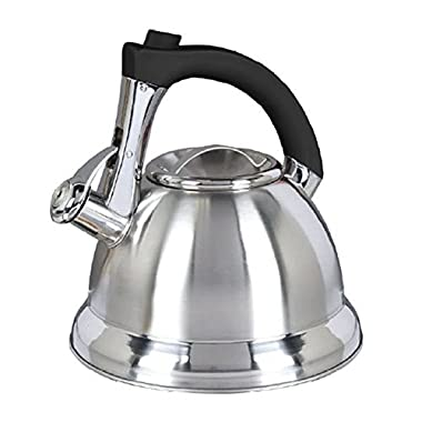Mr. Coffee Collinsbrook Stainless Steel Whistling Tea Kettle, 2.4-Quart, Silver/Black