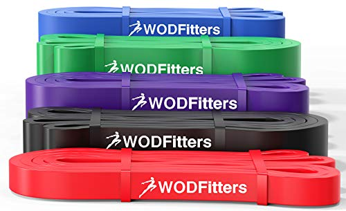 WODFitters Pull Up Assistance Band for Stretching, Mobility Workouts, Warm Up, Recovery, Powerlifting, Home Fitness and Exercise (Set of 5 Bands)