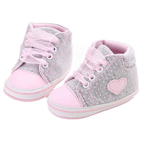 Soft Sole Sneaker,Kimanli Girl Canvas Shoe Baby Boys Shoes Anti-slip Toddler (12~18 months, Gray)