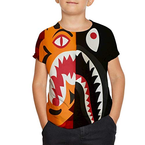 NIUPAI Ba-pe Shark Red Tiger Kids T-Shirt Teens Youth Fashion Shirts Graphic Short Sleeve Tee for Boys Girls White Youth L