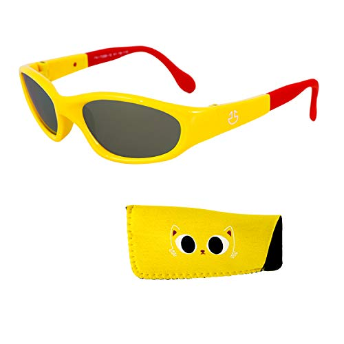 Baby Sunglasses –100% UV Protection Infants and Toddlers Sunglasses Ages 0 to 3 Years - Yellow Mirrored Lenses reduces Glare, Shiny Yellow Frame with Red Tips | Matching Pouch Included