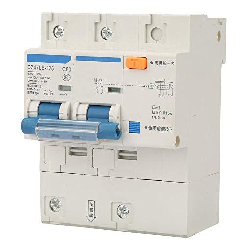 Interruptor de circuito de 230V 80/100 / 125A, interruptor de protección de fuga DZ47LE-125 Interruptor de circuito de corriente de 2P(C80A)