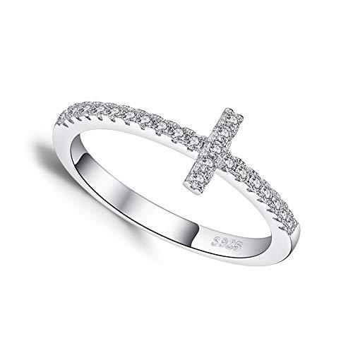 litulituhallo Anillo de promesa de cruz lateral chapado en oro blanco para su diamante de plata de ley