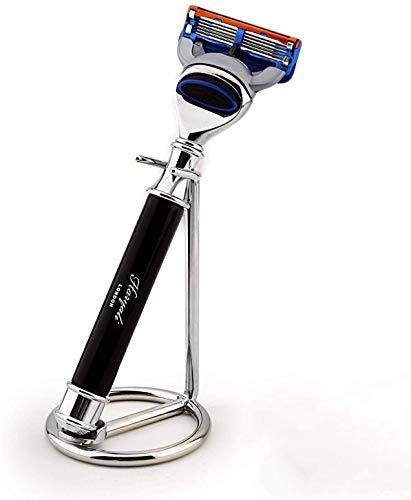 5-Kanten Rasiermesser in Schwarz und Edelstahl Ständer Ideal für den täglichen Gebrauch und Geeignet für die Nassrasur
