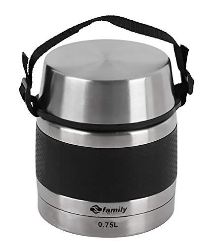 FAMILY Termo para Comidas de Acero Inoxidable, Recipiente Aislado para Solidos y Liquidos con Recipiente Interiores para Sopas, Salsas o Ensaladas (Negro, 0.75L)