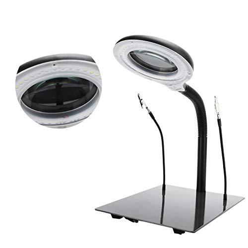 Hyuduo Lámpara de Aumento, 40 LED, luz de Aumento Ajustable 15X, lámpara de Aumento, para Lectura, Pasatiempos, Manualidades, reparación de Placas de Circuito(EU Plug 110-220V)