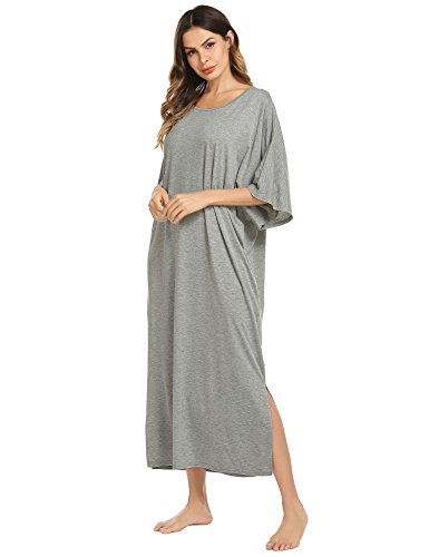 Ekouaer Womens V-Neck Cotton Nightgown Oversized Loose Fit Long Sleep Dress,A grey,X-Large
