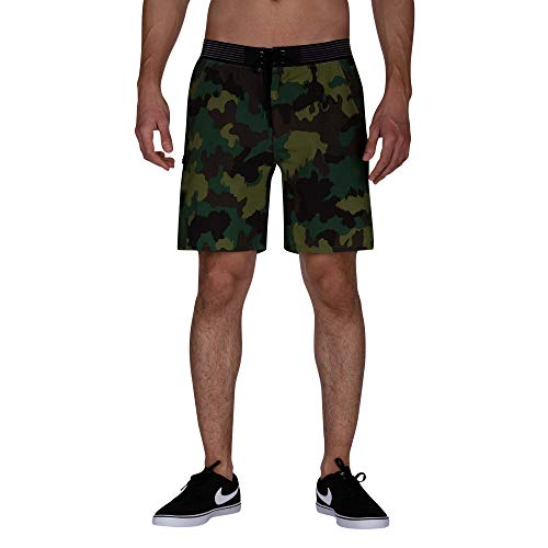 Hurley Herren M Phantom Alpha Trainer CAMO 18' Shorts, Cargo Khaki, M