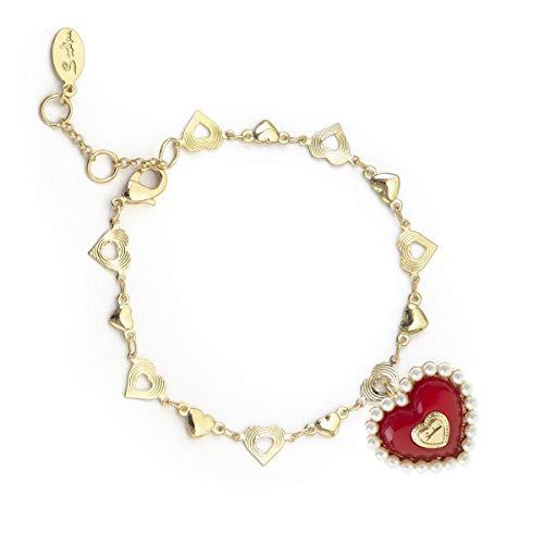 Armband met gouden ketting met rood hart - Art. 911259T