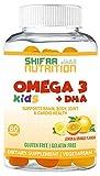 Vegan Omega 3 Gummies for Kids w/ DHA | 60 Count, 30 Servings | Plant Based Omega 3 6 9, Non-GMO | Supports Brain Body & Immune System | Gluten Gelatin Peanut Free | SHIFAA NUTRTION | Halal Vitamins