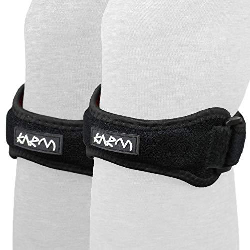 Plus Size Patella Knee Strap Support Stabilizer & Jumpers Knee Band - Patella Tendon Strap for Osgood Schlatter, Running, Patellar Tendonitis, Meniscus Tear, Women, Men (Black Plus Size, Pair)