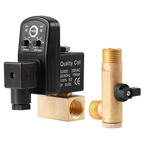 Ginorgee Válvula de Drenaje automática - G1/2 DN15 Válvula de Drenaje temporizada electrónica automática para la gestión del condensado del compresor de Aire(230V)