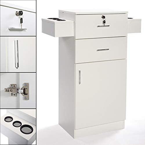 JAXPETY 3-Layer Beauty Salon Storage Cabinet w/ 6 Hair Dryer Holders, Lockable Styling Station Equipment (White)