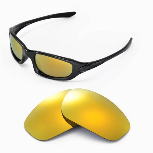 Walleva Replacement Lenses for Oakley Fives 4.0 Sunglasses - Multiple Options Available (24K Gold Mirror Coated - Polarized)