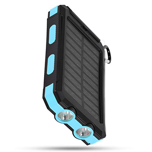 SOONHUA 10000Mah Tragbares Telefon Solarladegerät Schnelles Aufladen Solar Mobile Power Bank Fall DIY Kit mit Kompass LED Taschenlampe Karabiner Typ-C für Mobiltelefon