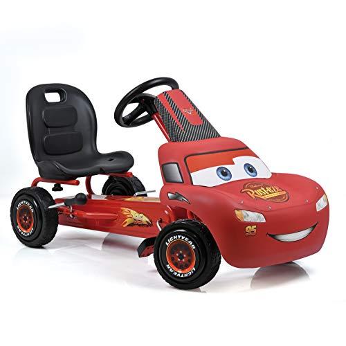 Hauck Go-Kart Cars Lightning McQueen, Karting à Pédale d'Enfant avec Carrosserie Cars, Roues avec Profil Caoutchouc, Frein à Main pour Roues arrières, Siège Baquet Réglable - Rouge