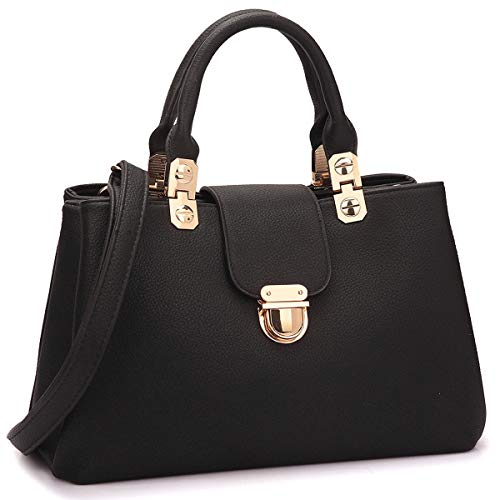 Dasein Women Satchel Handbags Top Handle Purse Medium Tote Bag Vegan Leather Shoulder Bag Black