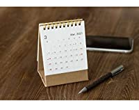 卓上カレンダー 2021年卓上カレンダーゴールドソリッドカラークラフト紙のカレンダーコイルスケジュールクリエイティブ卓上カレンダーの日付リマインダー卓上カレンダー デスクトップカレンダー (Color : Small beige)