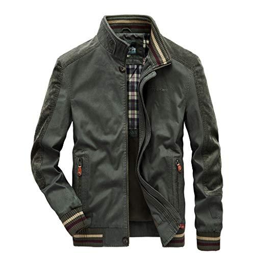 jin&Co Bomber Jacket Men Lightweight Full Zip Multi-Pocket Casual Flying Military Jacket Windbreaker Outercoat Plus Size Green