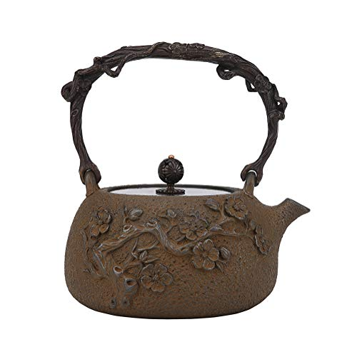 MNSSRN Retro Uncoated Iron Kettle, Hand-Dewaxed Cast Iron Kettle, Japanese Kung Fu Tea Set, Kettle, Hip Flask