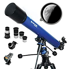 "Aperture: 90mm(3.5""). Focal Length: 900mm. Focal Ratio: f/6.7. Rack-and-Pinion Focuser, Setting Circles, Latitude Control w/ Scale Large, stable German Equatorial mount with slow motion controls makes tracking celestial objects smooth and simple Low ..."