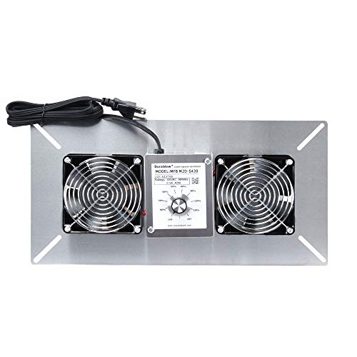 Durablow Stainless Steel Crawl Space Foundation Fan Ventilator + Built-in Dehumidistat (Stainless steel silver, M2D-S430)