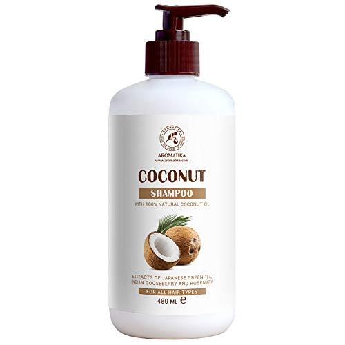 Champú de Coco 480 ml - con Aceite de Coco 100% Natural - Champú para Hidratación & Volumen - Sin Sulfatos ni Parabenos - Extractos de té Verde Japonés, Grosella Espinosa India y Romero