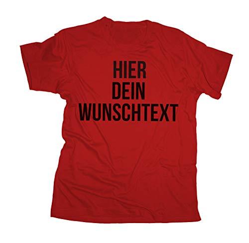 T-Shirt mit Wunschtext - Selber gestalten mit dem Amazon T Shirt Designer - Tshirt Druck - Shirt Designer Herren Männer T-Shirt-red-l
