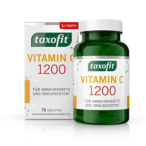 taxofit Vitamin C 1200 Depot Tabletten für das Immunsystem und Abwehrkräfte | ohne Gluten, Zucker, Lactose und Gelatine | Nahrungsergänzungsmittel | 75 Tabletten in der praktischen Vorratsdose