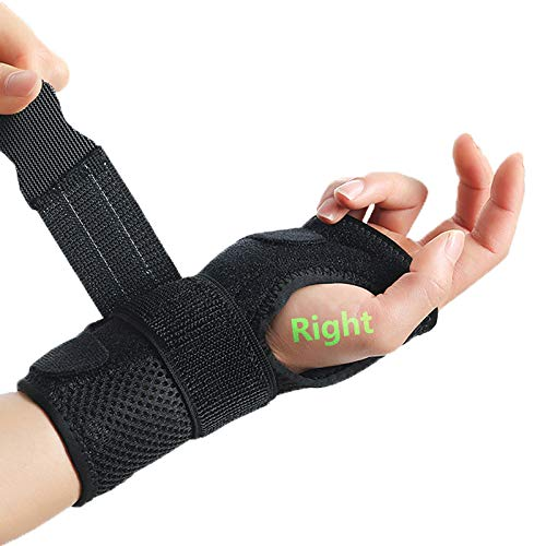 Sixport Wrist Brace, Adjustable Wrist Fitted Stabilizer Removable Aluminum Splint Carpal Tunnel Hand Compression Support Wrap for Men, Women, Wrist Injuries Pain Relief, Right Hand