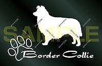 アトリエDOM 少し大きめ 犬のステッカー ボーダーコリー [白](受注生産) ボーダーコリー ステッカー
