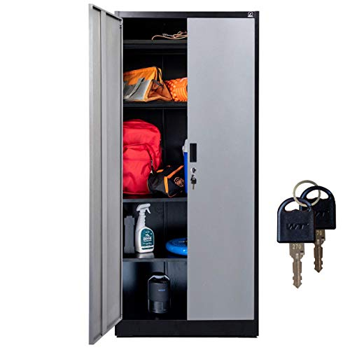 """Fedmax Metal Storage Cabinet - 71"""" Tall w/ Locking Doors & Adjustable Shelves - Steel Utility Cabinets For Garage, Office, Classroom, Kitchen Pantry -70.86"""" L x 31.5"""" W x 15.75"""" D 