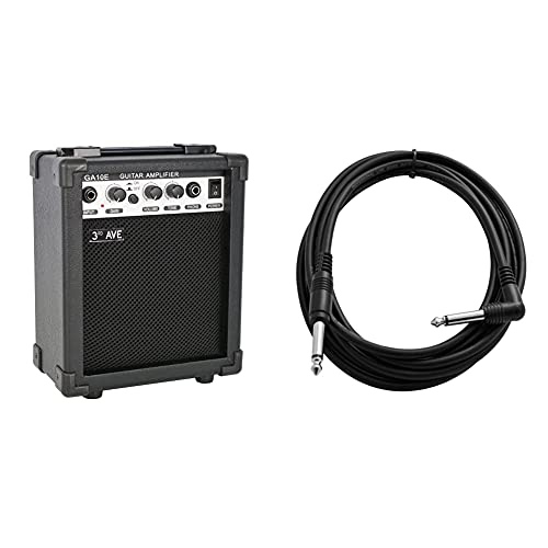 3rd Avenue Rocket Series 10W Guitar Amplifier with Headphone Output and Effects Compact Practice Amp - Black & Tiger 6.35Mm - 1/4 Inch Right Angled Jack Guitar Cable - 3M Guitar, Bass Lead