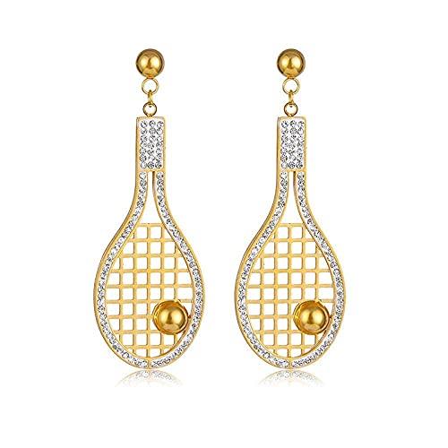 Pendientes exquisitos de damas imitadas Diamante Raqueta de tenis con tachuelas Pendientes hechos a mano Pendientes largos Pendientes de acero de titanio Moda / BPRoduct Código: WW 711 ( Color: a)