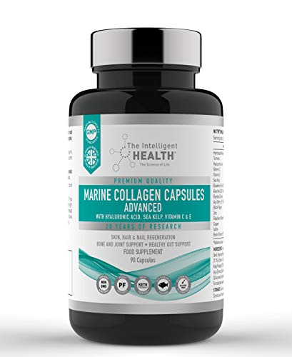 Advanced Hydrolysed Marine Collagen Capsules 1400MG Complex – Containing Zinc, Biotin & VitaminC, Promoting Healthy Skin, Bones & Cartilage, No Gluten or Lactose - 90 Tablets by The Intelligent Health