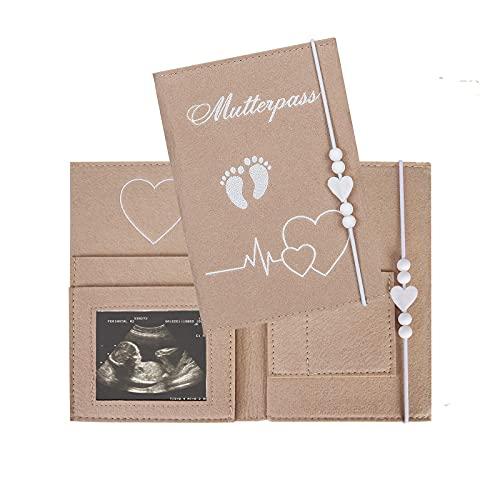 Funda para cartilla de embarazo de fieltro con muchos compartimentos para imágenes...