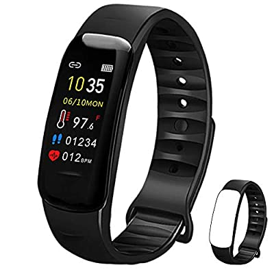 Fitness Tracker with Oxygen Monitor,Activity Tracker Watch with Body Temperature Blood Pressure Heart Rate Monitor,Smart Watch with Steps Watch, Pedometer Watch for Kids Women Men (Black+Black)